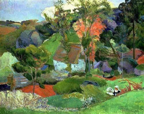 cuadros-de-paisajes - Cuadro -Paisaje en Pont Aven- - Gauguin, Paul