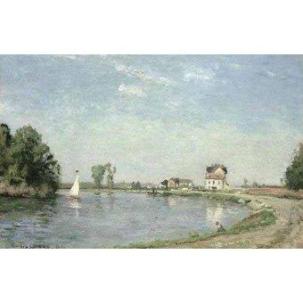- Cuadro -Al borde del río- - Pissarro, Camille