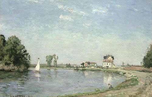 cuadros-de-paisajes - Cuadro -Al borde del río- - Pissarro, Camille