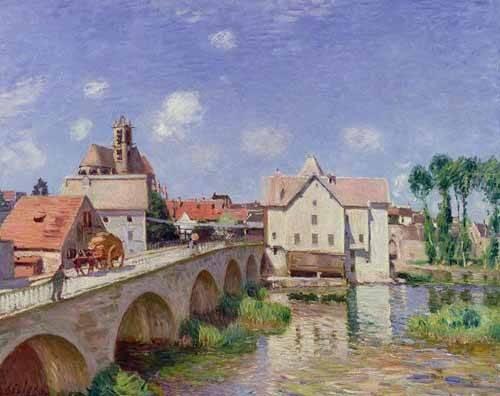 cuadros-de-paisajes - Cuadro -El puente de Moret- - Sisley, Alfred