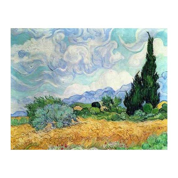 cuadros de paisajes - Cuadro -Campo de cereales con cipreses-
