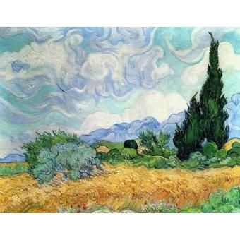 - Cuadro -Campo de cereales con cipreses- - Van Gogh, Vincent