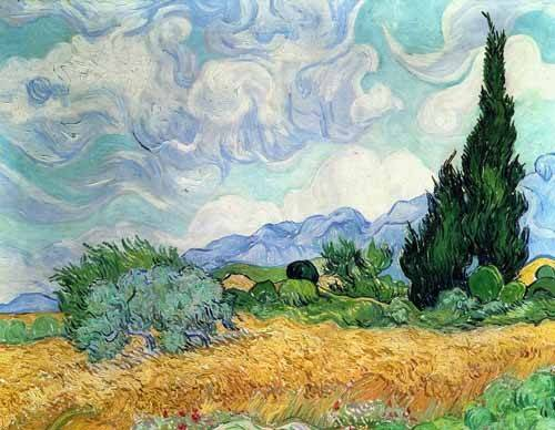 cuadros-de-paisajes - Cuadro -Campo de cereales con cipreses- - Van Gogh, Vincent