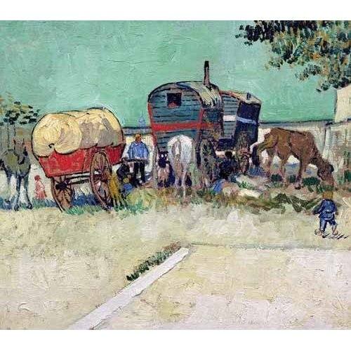 Cuadro -Las caravanas de un campamento gitano cerca de Arles-